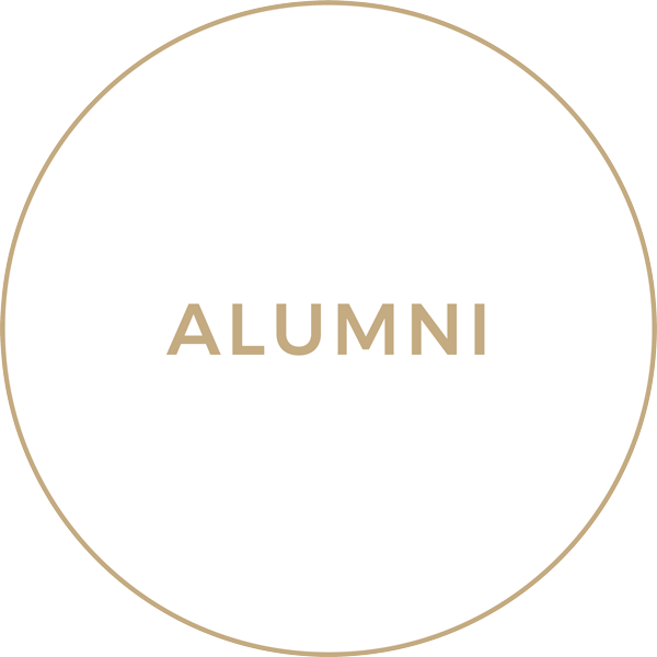 Tan Circle with the words 'Alumni'