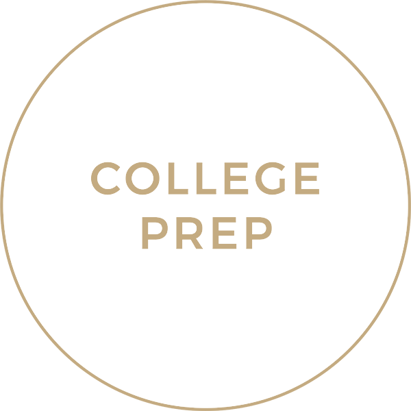 Tan Circle with the words 'College Prep'