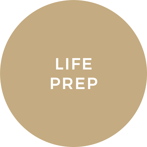 Tan Circle with the words 'Life Prep'